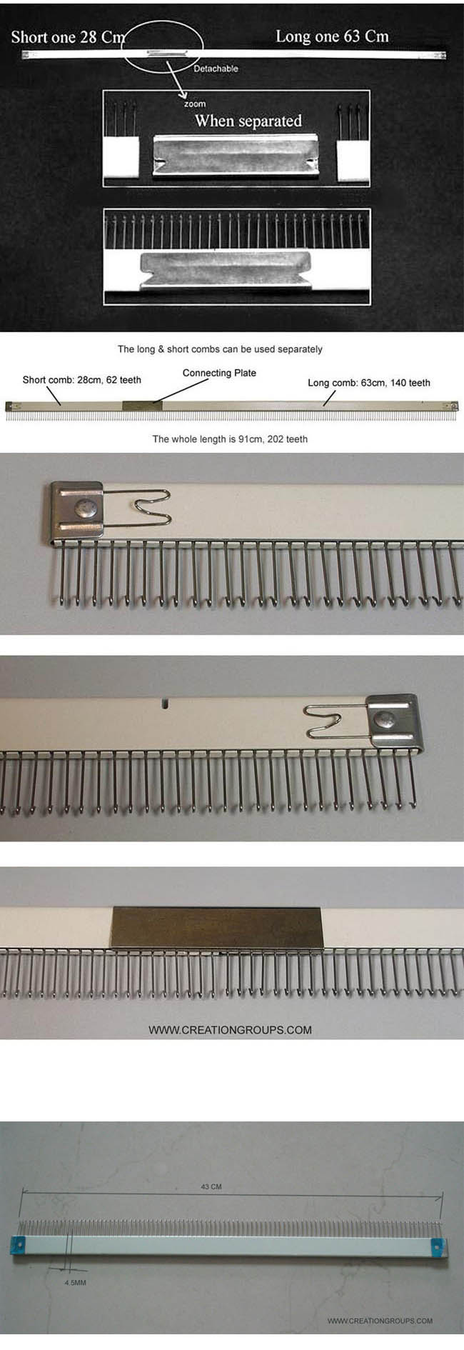 Cast-on Comb Set 63cm+28cm+43cm for Brother KH860 KH868 KH890-KH970 Studio SK280