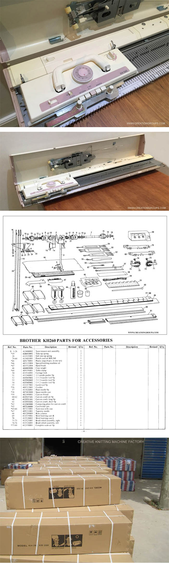 Creative KH260 9mm Bulky Gauge Punch Card Knitting Machine (Brother KH260)