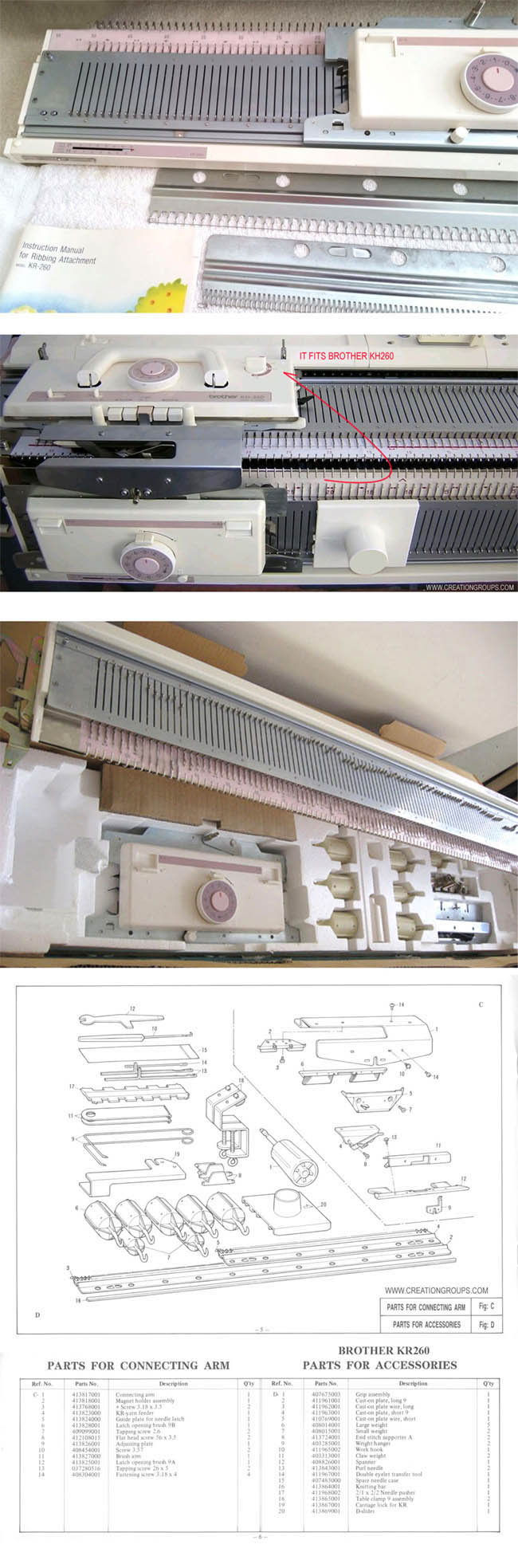 Yarn Feeder for Brother Knitting machine Ribber machine KR260